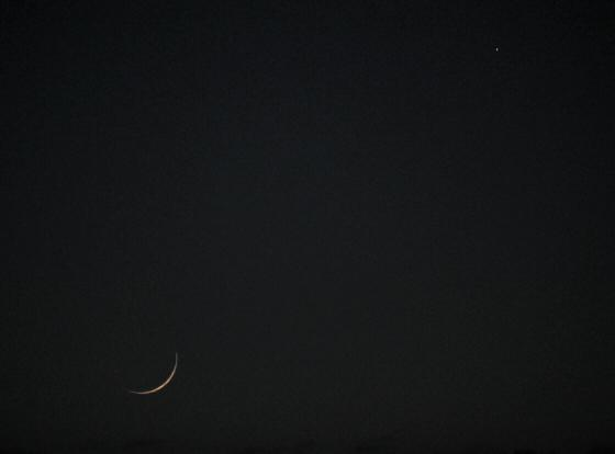 Close approach of Jupiter and the Moon
